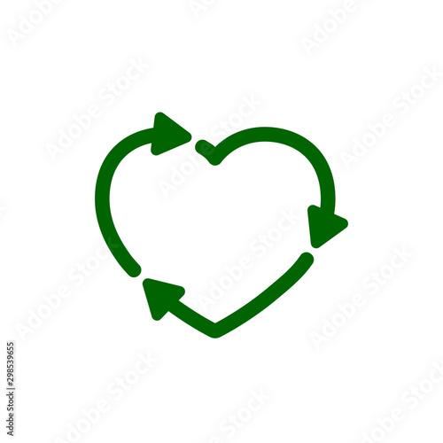 Fototapeta Recycle heart icon. Love eco sign – for stock obraz na płótnie