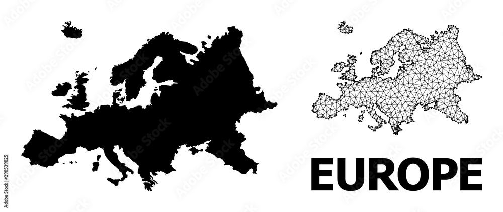 Fototapety, obrazy: Solid and Network Map of Europe