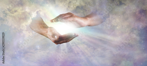 Let there Be Light Divine Concept -  God's hands emerging from beautiful clouds, Wallpaper Mural
