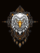 Eagle Head Vector Illustration With Mandala As The Background Ornament, Suitable For Apparel Merchandise, T-shirt Or Outerwear.
