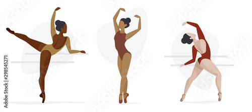 Canvas Set of Three Ballet Characters - Diversity Concept, Ballerinas