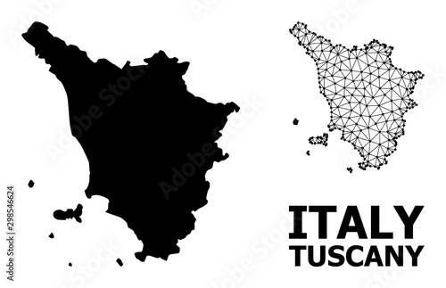 Solid and Wire Frame Map of Tuscany Region Fotobehang
