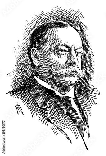 William Howard Taft, vintage illustration Wall mural