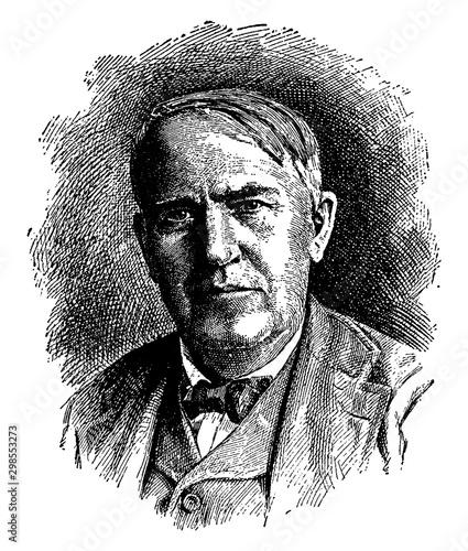 Foto Thomas A. Edison, vintage illustration
