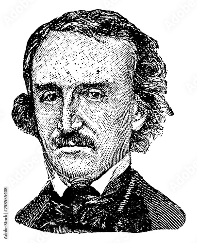 Edgar Allan Poe, vintage illustration Wallpaper Mural