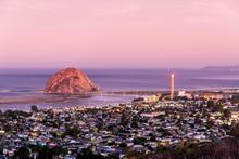 Magenta Morning Over City, Ocean, Rock, Morro Bay