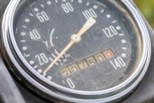 Retro Motorcycle Black Analog Speedometer Close Up