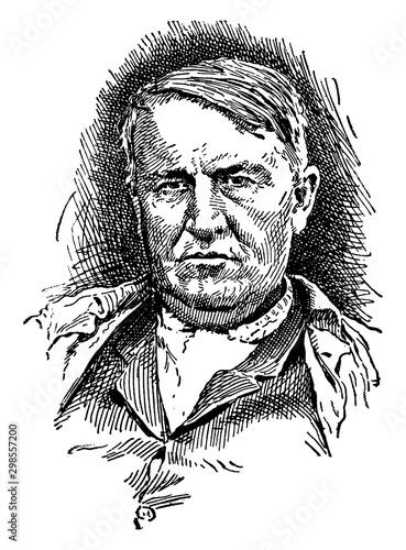 Thomas Alva Edison, vintage illustration Wallpaper Mural
