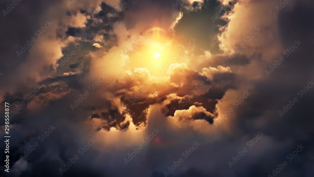 Fototapeta Flying through picturesque sunny cloudscape. Amazing of soft golden clouds moving in pure sunshine and the sun glowing through the clouds with beautiful rays and lens flare.