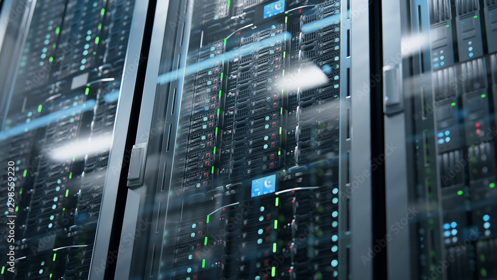 Fototapeta Camera moving in data center along the racks with server equipment, close up view. Seamlessly looped photorealistic 3D render animation.