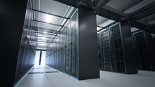 Camera Moving In Data Center In Dim Light Showing Racks Of Server Equipment Shared By Numerous Passages. Seamlessly Looped Photorealistic 3D Render Animation.