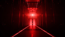 Camera Moving Along The Corridor In Data Center With Server Equipment, The Lights Turning Off Until Total Darkness, Then Red Light Suddenly Lights Up In Danger. Photorealistic 3D Render Animation.
