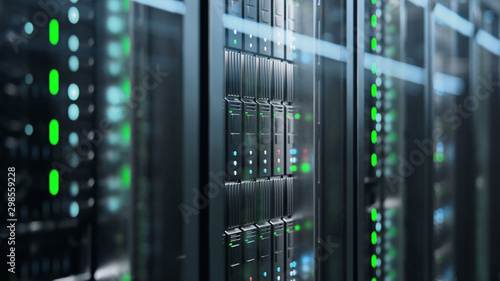 Fototapeta Camera slowly moving in data center showing server equipment with flickering light indicators, close up view. Seamlessly looped photorealistic 3D render animation. obraz