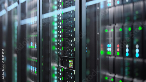 La pose en embrasure Pierre, Sable Camera slowly moving in data center showing server equipment with flickering light indicators, close up view. Seamlessly looped photorealistic 3D render animation.