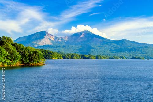 朝の桧原湖と磐梯山