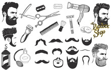 Set Of Signs And Icons For Barbershop Isolated On A White Background. Vector Graphics.