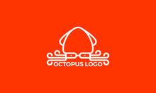 Octopus Logo Design. Minimalist Logo For Food, Restaurant, Cafe, Seafood.