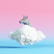 Leinwanddruck Bild - Creative concept unicorn on cloud on pastel colors background. 3d rendering