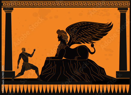 Canvas Print oedipus asking the sphinx riddle greek mythology tale