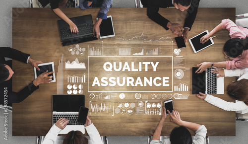 Quality Assurance and Quality Control Concept - Modern graphic interface showing certified standard process, product warranty and quality improvement technology for satisfaction of customer Canvas Print