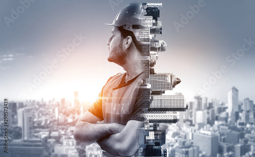Photographie Future building construction engineering project concept with double exposure graphic design