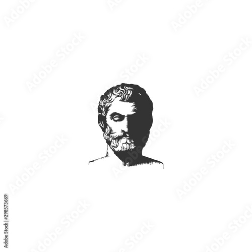 Valokuvatapetti Greek Old Man Face Philosopher Logo design inspiration - vector