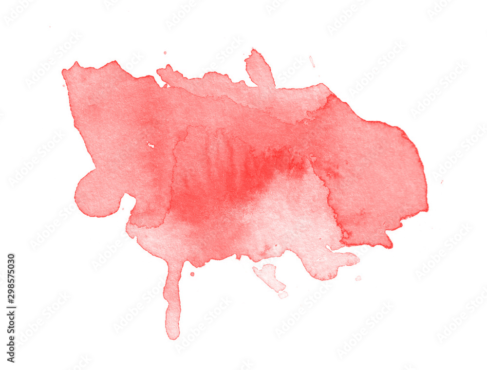 Fototapety, obrazy: Abstract red watercolor blot isolated on white background. Red watercolor brush