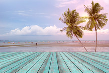 Wooden Table With Beach Landsc...