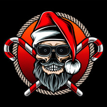 Skull Santa Hipster Style Vector