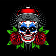 Cholo Skull With Roses Vector