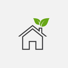 Green House Or Home Vector Icon In Linear Style, Home Leaf Vector Icon Illustration Sign, Eco Home Simple Icon, Small House Icon Vector, Simple Flat House Symbol. Home Illustration