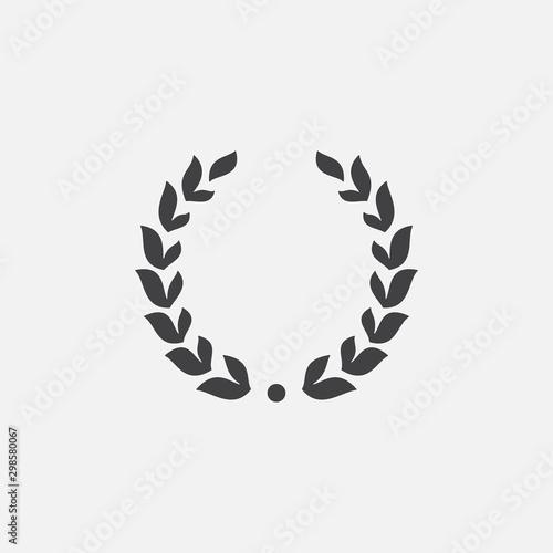 Fototapeta Laurel Wreath floral heraldic element, Heraldic Coat of Arms decorative logo illustration, Vector art and illustration of laurel wreath, Branches of olives, symbol of victory, obraz