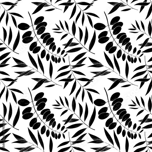 Fototapety, obrazy: Vector Eucalyptus leaves branch. Black and white engraved ink art. Seamless background pattern.