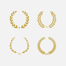 Golden Laurel Wreath Floral He...