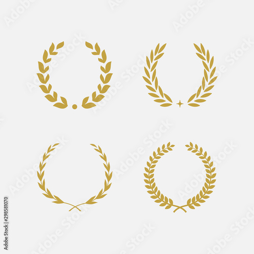 Fotografia, Obraz  Golden Laurel Wreath floral heraldic element set, Heraldic Coat of Arms decorati