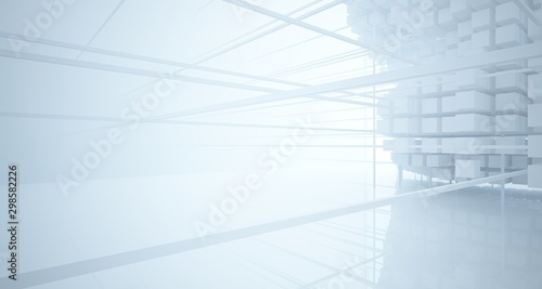 Abstract white architectural interior from an array of white cubes with large windows. 3D illustration and rendering. #298582226