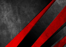 Contrast Red Black Material Geometric Stripes. Abstract Grunge Tech Graphic Digital Design. Old Wall Concrete Texture. Vector Corporate Background