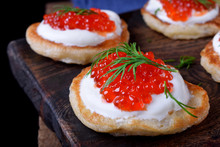 Pancakes With Red Caviar And C...