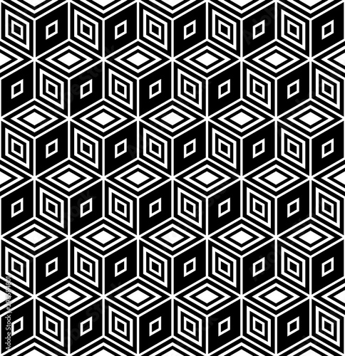 Seamless geometric op art patern. 3D illusion.