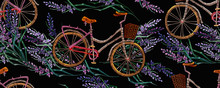 Embroidery Lavender Flowers And Bicycle Horizontal Seamless Pattern. Summer And Spring Floral Art. Lifestyle Concept. Fashion Template For Clothes, T-shirt Design