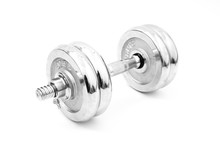 Silver Iron Dumbbell Isolated On White