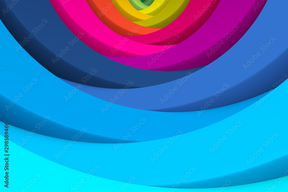 Fototapety, obrazy: Multicolor abstract background with wave 3D illustration