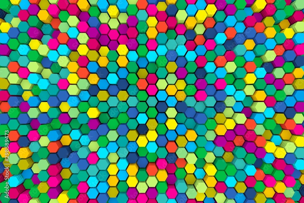 Fototapety, obrazy: multicolored abstract background with cells 3D illustration