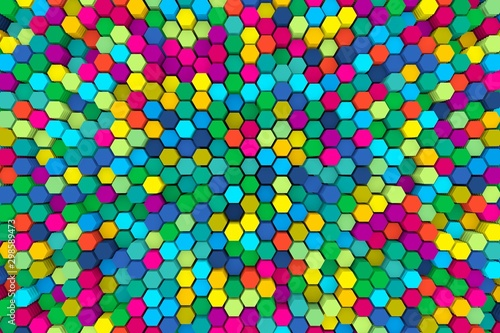 multicolored abstract background with cells 3D illustration