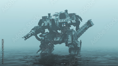 Futuristic AI Battle Droid Cyborg Mech with Glowing Lens Standing in Water in a Canvas Print
