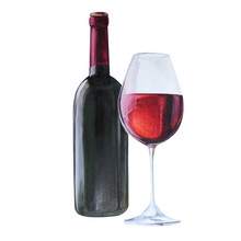 Red Wine Bottle And Wine Glass, Watercolor Illustration Isolated On White Background