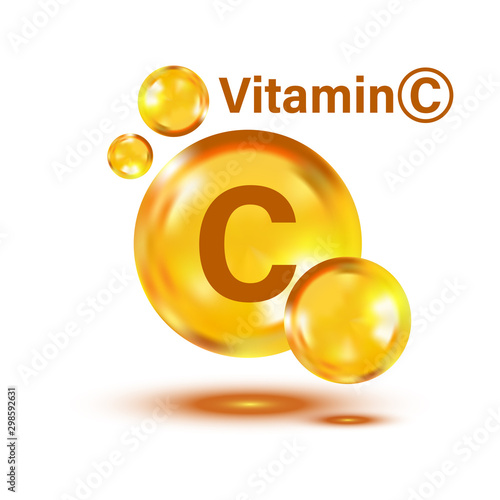 Vitamin C icon in flat style Wallpaper Mural