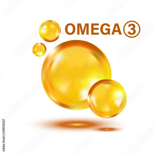 Omega 3 icon in flat style Wallpaper Mural