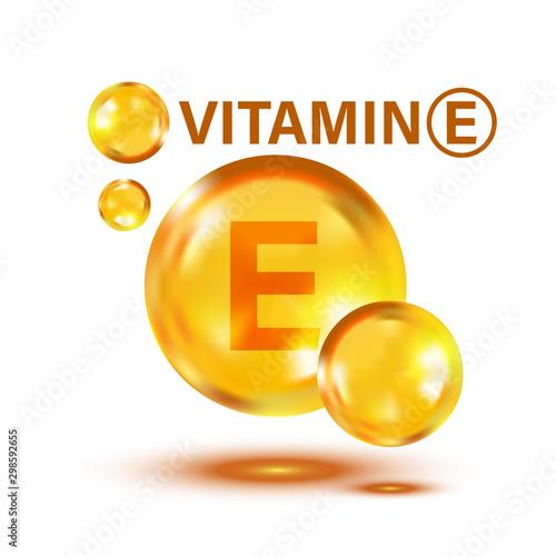 Fototapeta Vitamin E icon in flat style. Pill capcule vector illustration on white isolated background. Skincare business concept. obraz