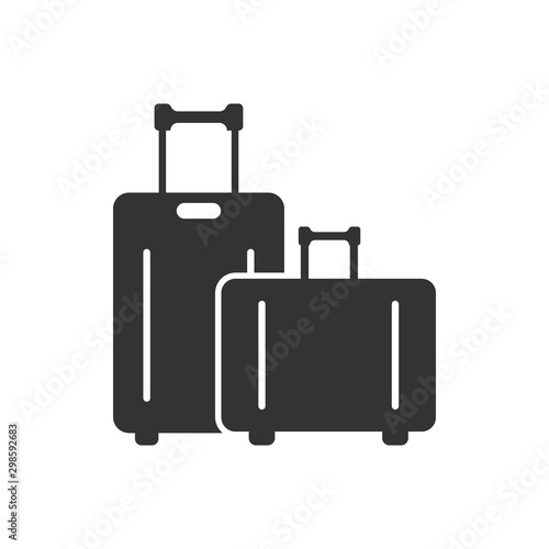 Travel bag icon in flat style Canvas Print